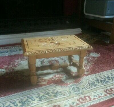 Arts and crafts style stool solid wood