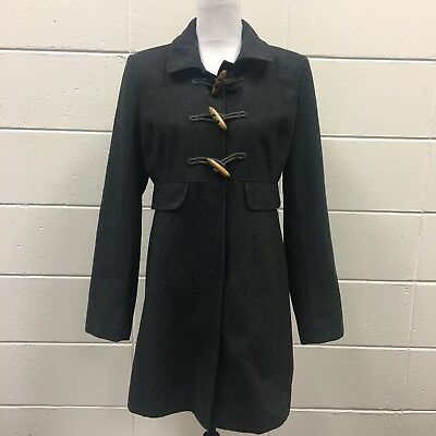 Old Navy Womens Winter Wool Blend Grey Coat Sz M Wooden Toggles