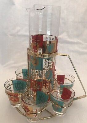 Vtg Mid Century Mod Fred Press Barware Set Pitcher 6 Glasses And Stand