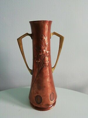 WMF  copper & Brass handles vase. Embossed. art nouveau  emu mark
