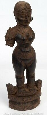 "10.8"" Antique African Congo Carved Totem Fetish Woman Hardwood Statue Fertility"