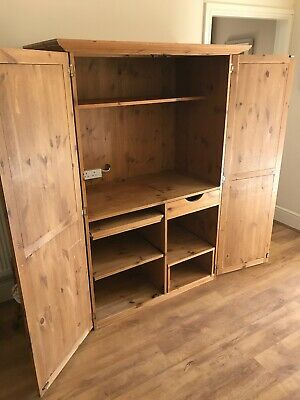 Antique Pine (Pineboard) Computer Cupboard/Sideboard