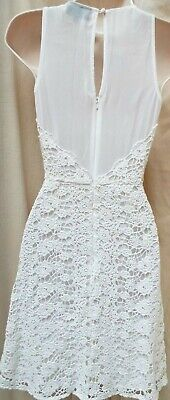 WAREHOUSE Fully Lined Ivory Crochet Lace Illusion Bodice Cocktail Dress  Size 6