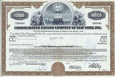 Consolidated Edison Company of New York Inc., 1972, 5% Bond due 1996 (10.000 $)