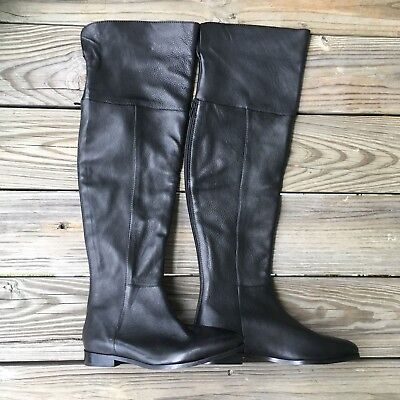 Women's NEW Seychelles Above Knee Boots Shoes Size 6.5M Black Leather Zip Up T11