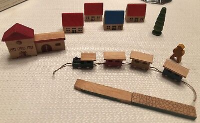 Vintage Wooden Village houses, cars Made in German Democratic Republic