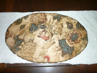 Very Rare Antique Fabric Piece **oval** Bird Early 1800's