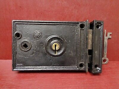 Antique Large Chantrell U.s.a. Rim Lock With Working Key Reversible #05