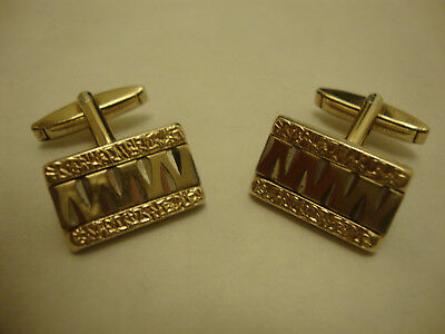 Vintage old retro 1960's mid century modern gold plate over silver cufflinks
