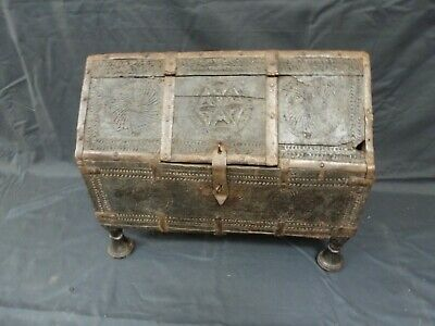 Antique Rare 18th Century Indian Dowry Hand-Carved Wooden Chest Box