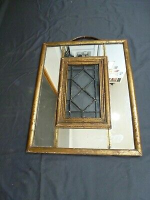 Arts and Crafts Gilt Painted Embossed Leather Mirrored Panel Mirror