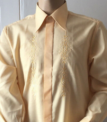 EMBROIDERED PEACH DRESS SHIRT RETRO COLLAR FORMAL WEDDING PARTY 48in x 16in XXL