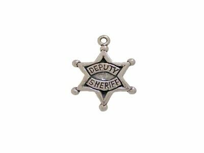 New 0.925 Sterling Silver Deputy Sheriff Police Officer Pendant