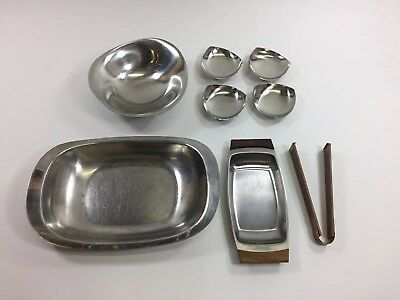 Lot of Danish Mid Century Modern Stainless Steel Serving Dishes, Bowl, Tongs