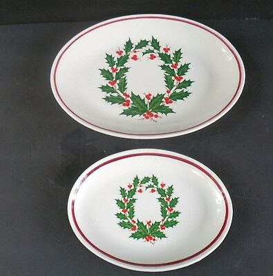 Vintage Homer Laughlin Holiday Platters Decorated W/Holly And Berries Set Of 2