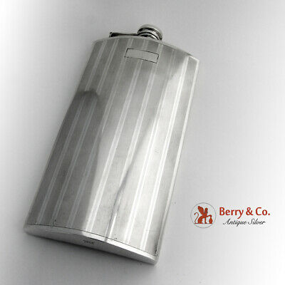 Art Deco Large Flask 1 Pint Curved Form Watrous Sterling Silver 1930