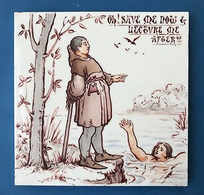 Ex Rare Arts and Crafts Robert Minton Tile Hand painted Aesop's Fables c1870