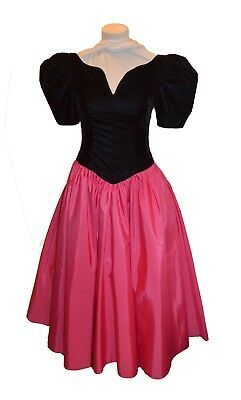 29a158e80e2b Union Made Vintage 80s Pink & Black Velvet Prom Party Dress size 7/8 NWT
