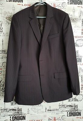 S.Oliver Men's Two Button Dark Grey Striped Suit Jacket Blazer size XL 102 CHEST