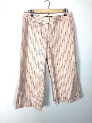 Vintage Express Pink Striped Culottes, Wide Legged Cropped Pants, Cuffed, Size M