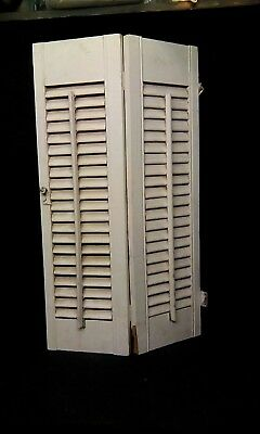 Primitive Antique Vintage White Wood Window Shutter