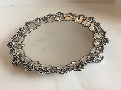 Antique Victorian Sterling Silver Salver Tray S.Smily 1875 8 Inches