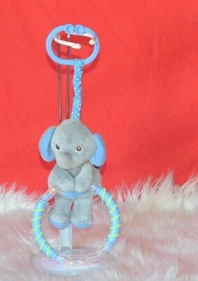 Garanimals Gray Blue Elephant  Stroller  Crib Baby With Rattles Toy 7""