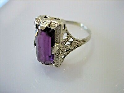Rare Antique Ostby Barton 10K White Gold Art Deco Purple Stone Ring Size 5.5