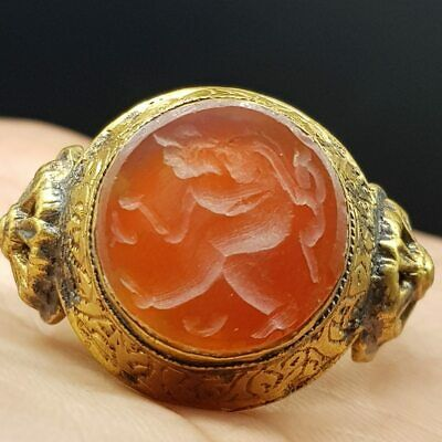 Beautiful Antique Agate Stone Agate stone Hunter Seal intaglio Ring  #10Z