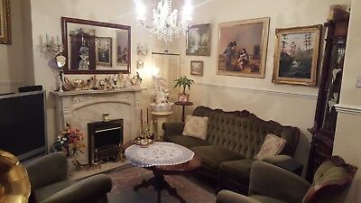 RARE French Rococo Louis Chesterfield Hand Carved 3 Piece Sofa Set