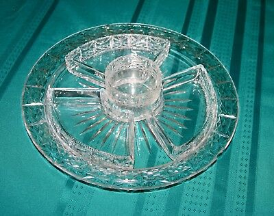 1920'S Vintage English Hors D'oeuvres Platter & Dishes-Hand Cut Crystal