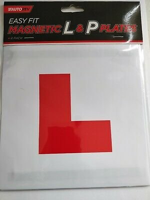 2 x FULLY MAGNETIC L and P PLATES SECURE Quick Easy To Fix Learner Sign