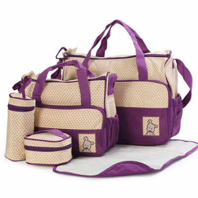 5Pcs Baby Changing Diaper Nappy Bag Mummy Mom Shoulder Handbag Food Bag Portable