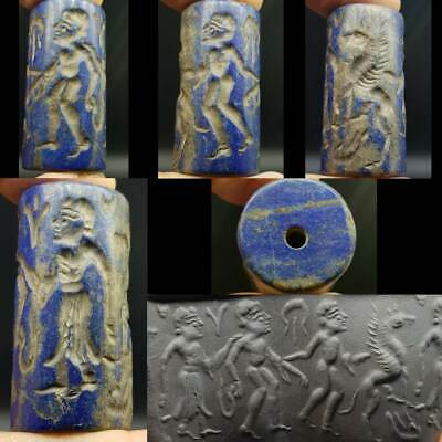 Wonderful Old Lapis lazuli stone Fighters Pegasus Horse intaglio BEAD   #10Z