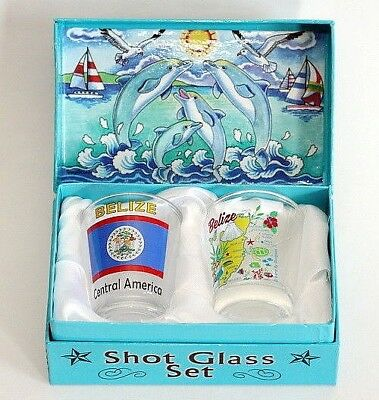 Belize Jumping Dolphins Boxed Shot Glass Set (Set of 2)