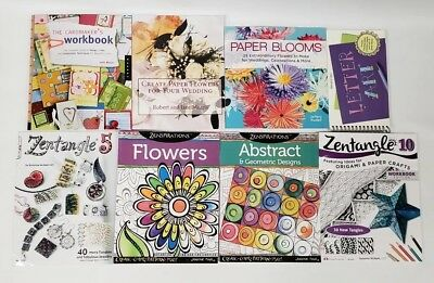 Paper Crafting Book Lot of 8 / Card Making, Blooms, Letter Art, Zentangles