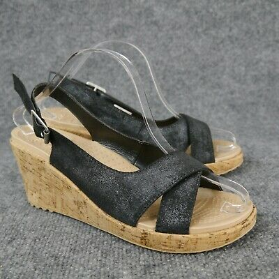 e33a4c8678b3 Crocs Womens Black Shimmer A-Leigh Crisscross Slingback Wedge Sandal Shoe  Size 9