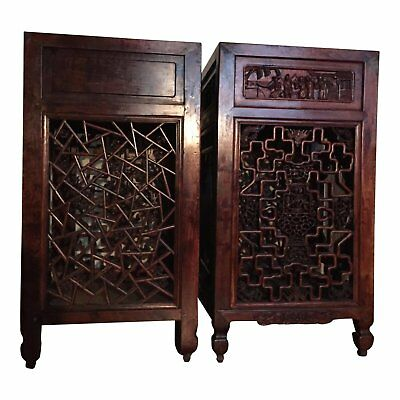 Antique Carved Chinese Side Tables, Qing Period, circa 1870 - a Pair