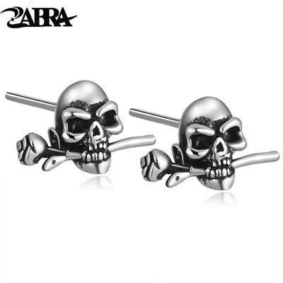 ZABRA Mens Earrings Silver 925 Skull Rose Studs Steampunk Rock Biker Men