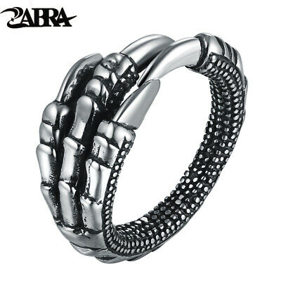 ZABRA Solid 925 Sterling Silver Steampunk Eagle Paw Open Rings For Men Women