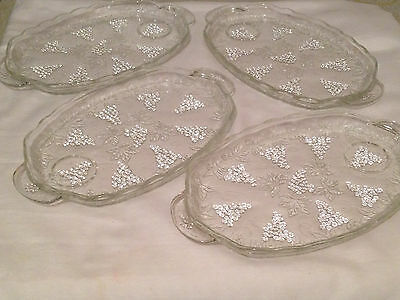 4 Anchor Hocking Grape Cluster & Leaves Clear Glass Snack Plates
