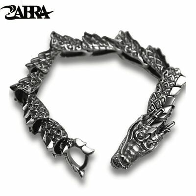 ZABRA Luxury Pure 925 Sterling Silver Dragon Bracelet Men Vintage Punk Rock