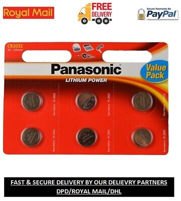 6 x Panasonic CR2032 Lithium Coin Cell 2032 3V Battery Car Key Fobs Toys Remote