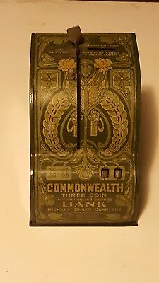 Vintage Commonwealth Three Coin Savings Bank. In Working Condition.