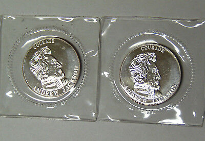 Lot of 2 Andrew Jackson 1/2 oz .999 Fine Silver 1995 Liberty Lobby Rounds SEALED