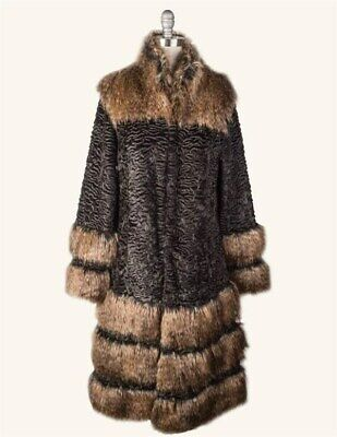 Victorian Trading Co Faux Arctic Fox Black Curly Lamb Ice Skater's Coat SM