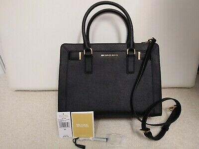 216aec551cac78 Authentic Michael Kors Dillon Satchel Top Zip Medium Saffiano Leather Bag  Black