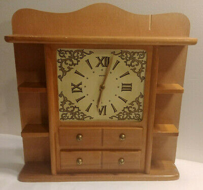 Vintage UNITED Electric Clock Model 592 Mantle / Wall w/ Display Shelves WORKS