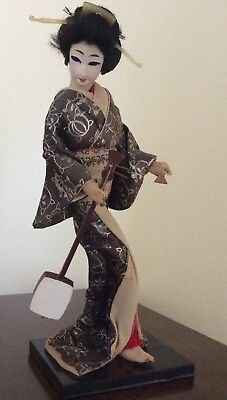 Unique Antique Old Asian Japanese Geisha Doll with Music Instrament on Stand!
