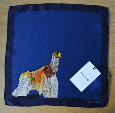 PAUL SMITH blue Afgan Hound HOMER DOG suit 100% silk pocket square handkerchief